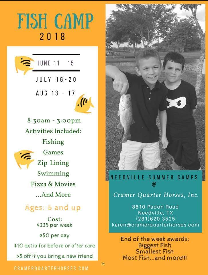 Horse Riding Camp or Fishing Camp for kids needville tx