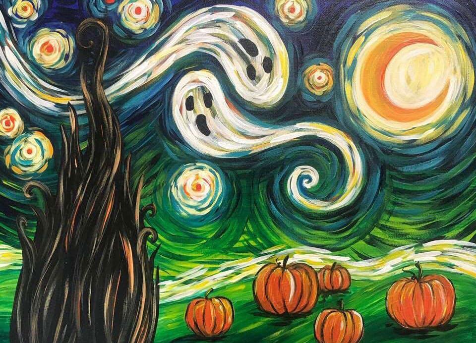 halloween-paint-drink-wine-fort-bend-texas